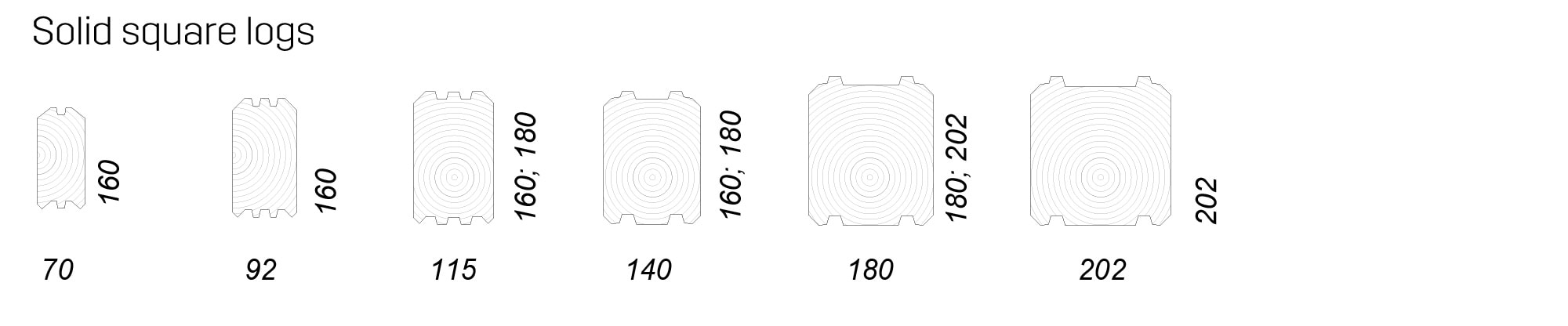 Solid square logs
