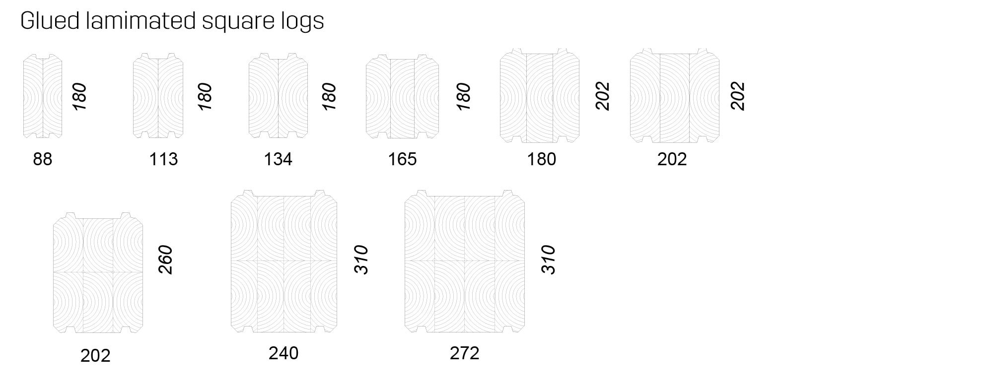 Glued lamimated square logs